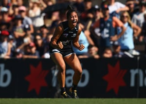 Darcy Vescio celebrates after kicking a goal during the AFLW Preliminary Final match between the Carlton Blues and the Fremantle Dockers at Ikon Park.