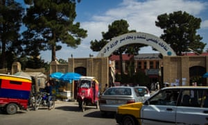 Outside the main entrance of the hospital in Herat province.