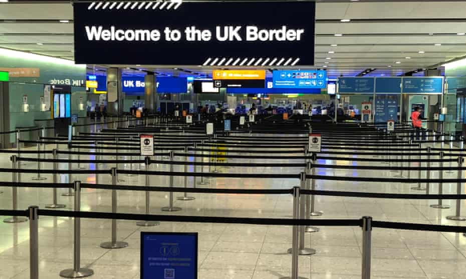 A UK border sign welcomes passengers on arrival at Heathrow airport. Details of the plan for visitors are due to be announced on Tuesday.