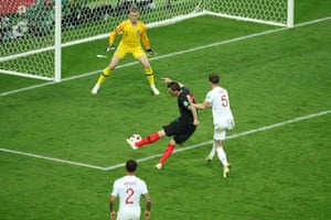 Mario Mandzukic of Croatia scores past England keeper Jordan Pickford.