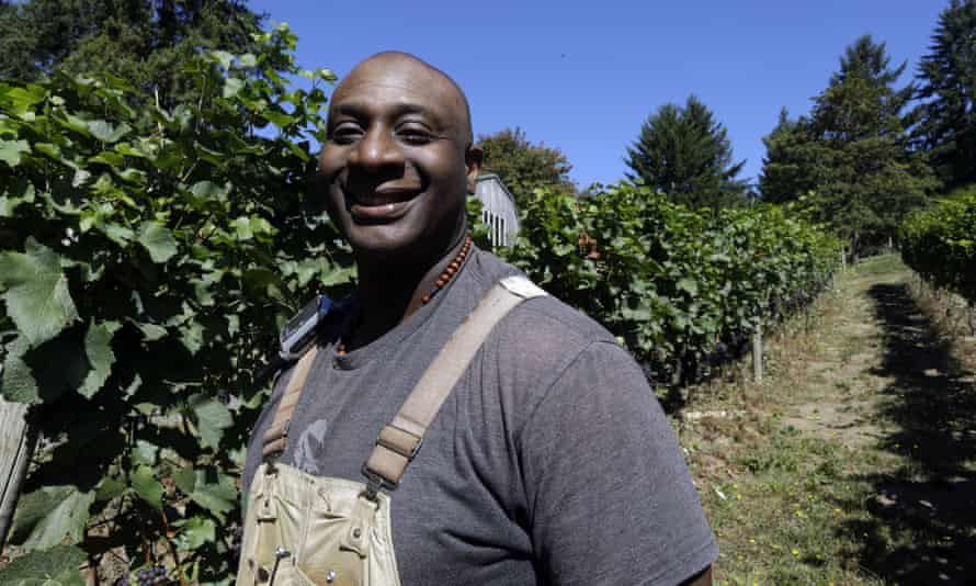 Winemaker Bertony Faustin in his vineyard near Portland. 'The image of the winemaker is an old white guy,' he says.