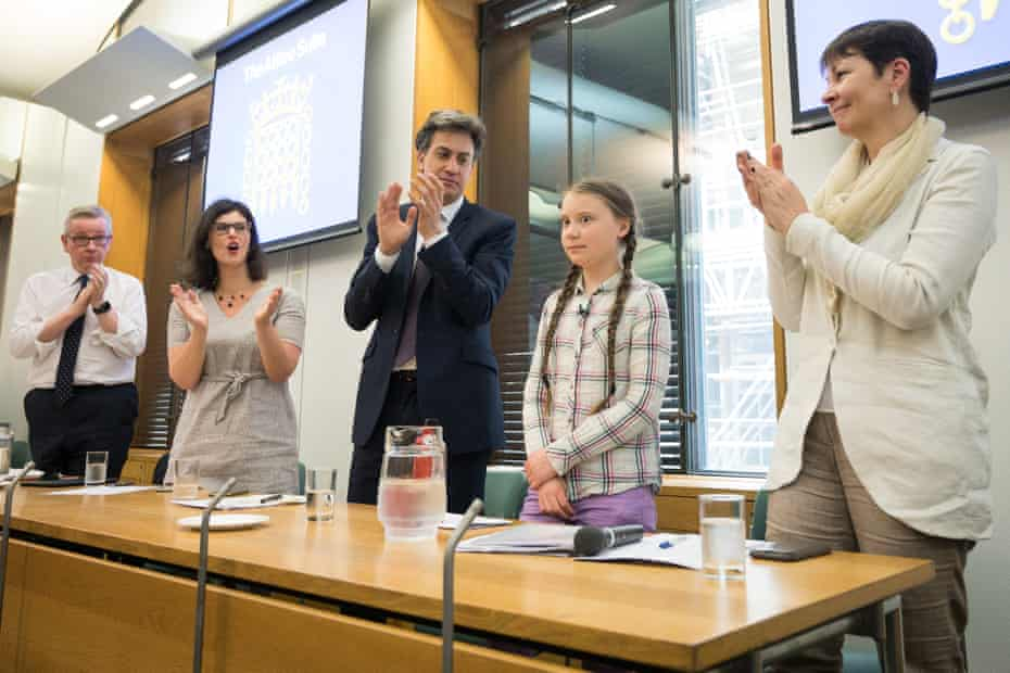MPs from various parties meeting climate activist Greta Thunberg at the Houses of Parliament in April last year.