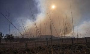 Fire burns on Bolivia Hill, near Glen Innes, on Sunday