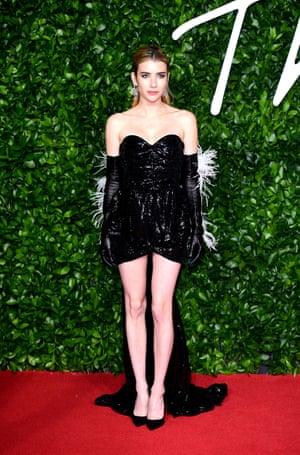 Emma Roberts, wearing Attico, presented the British designer of the year (womenswear) award to Daniel Lee for Bottega Veneta