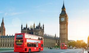 London buses on Westminster bridge
