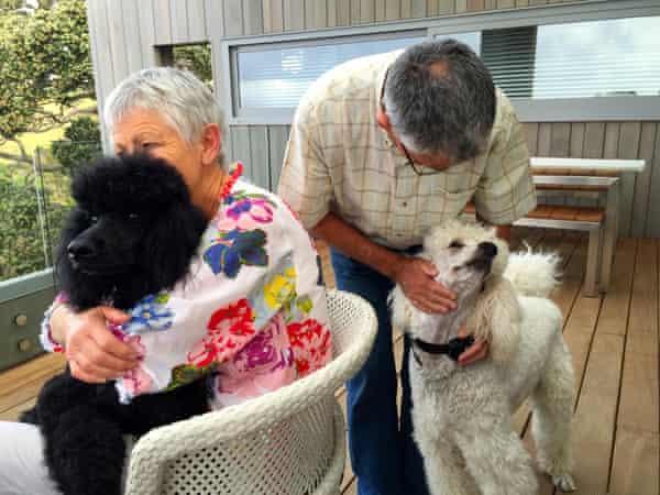 Caroline and Peter Davey with their poodles Isla and Fabio at Marino Lodge, Waiheke Island, New Zealand in February 2015.