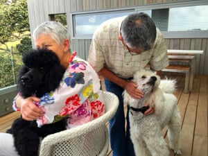 Caroline and Peter Davey with their poodles Isla and Fabio at Marino Lodge, Waiheke Island, New Zealand in February 2015.
