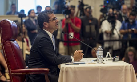 Pedro Pierluisi speaks during his confirmation hearing in San Juan, Puerto Rico, 2 August 2019.