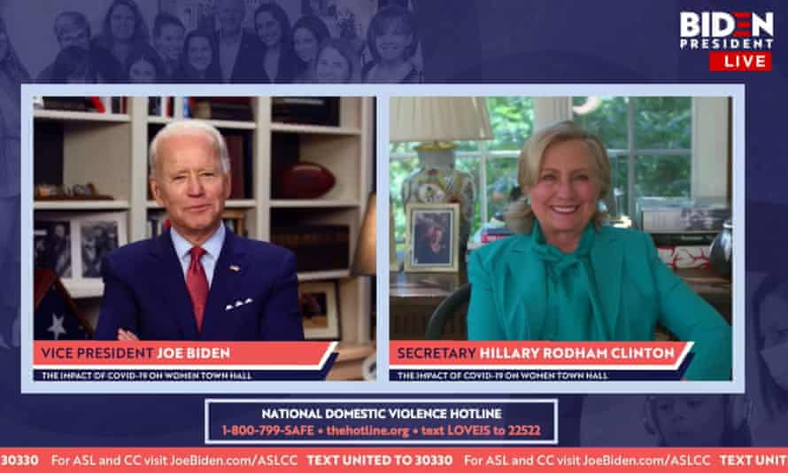 Joe Biden and Hillary Clinton at a virtual town hall during which she endorsed him last month.