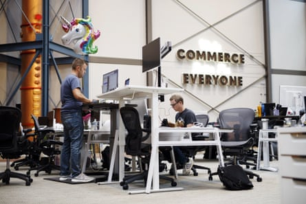 Employees at Shopify's Waterloo, Ontario, headquarters.