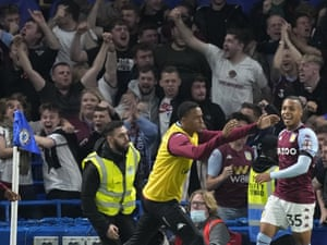 Aston Villa's Cameron celebrates in front of the travelling fans.
