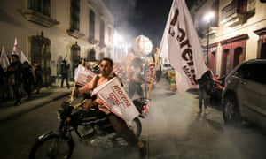 Supporters of leftist leader Andres Manuel Lopez Obrador celebrate his victory in the streets of Mexico City