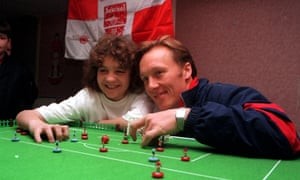Sonny Pike with Arsenal's Lee Dixon.