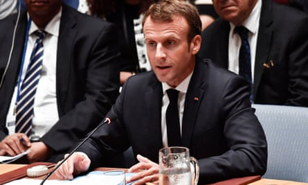 Emmanual Macron speaking at the UN in New York