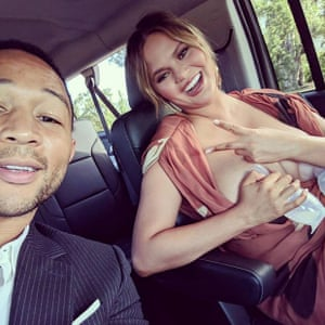 Chrissy Tiegen expressing in the car, with her husband John Legend