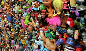detail from the wall of an art gallery in Hong Kong, covered with about 16,000 toys made in China, in an exhibition by German photographer Michael Wolf.