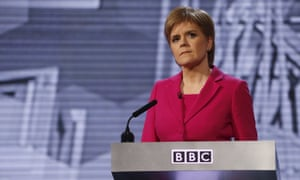 Nicola Sturgeon takes part in a leaders' debate on the first day of campaigning for the Scottish parliament elections.