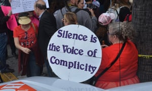 Demonstrators at the #MeToo march in Los Angeles on 12 November.