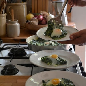 Eggs baked in greens from TWO KITCHENS by Rachel Roddy, published by Headline Home 2017.