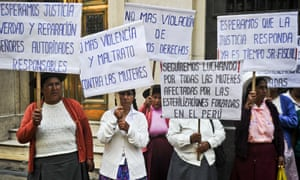 Women subjected to sterilisation during the administration of Peru's former president, Alberto Fujimori, protest in Lima, 2014.