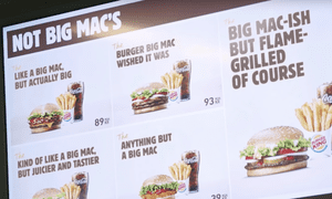 A screenshot from Burger King's promotional video for the 'Not Big Mac's.'