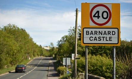 A road sign on the outskirts of Barnard Castle, less than 30 miles southwest of Durham, north east England