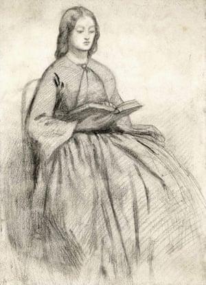 A portrait of Elizabeth Siddall in a chair, by her husband Dante Gabriel Rossetti.