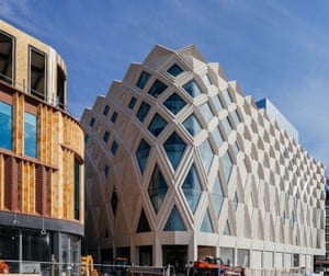 Victoria Gate's exterior 'evokes the ultra-light geodesic structures beloved of Buckminster Fuller'. Acme