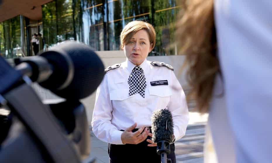 Metropolitan police assistant commissioner Louisa Rolfe speaks to the media outside New Scotland Yard, central London