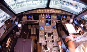 A view of the cockpit of the Germanwings A320 plane at the airport in Düsseldorf a day or so before the crash.