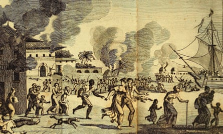 An engraving from 1815 of the Haitian revolution.