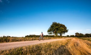 Cyclist cycling past fields, Worpswede, Teufelsmoor, Lower Saxony, Germany