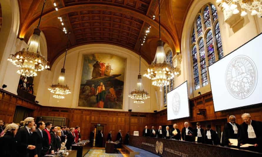 A sitting of the international court of justice in The Hague.