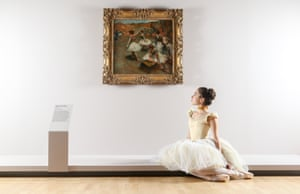 Evie Ferris of The Australian Ballet poses next to work by Degas at at NGV International