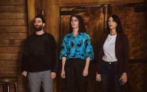 Pfeffermans united … Jay Duplass as Josh, Gaby Hoffman as Ali, and Amy Landecker as Sarah in season four of Transparent