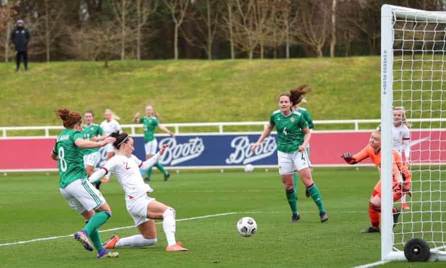 Lucy Bronze scores England's third goal from a Lauren Hemp cross.