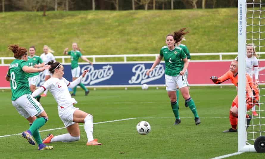 Lucy Bronze scores England's third against Northern Ireland in the 6-0 win at St George's Park.
