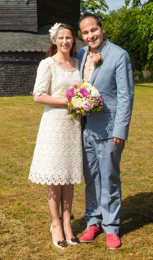 Angel Gonzalez with Claire Hooper on their wedding day