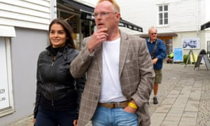 Per Sandberg with his girlfriend Bahareh Letnes