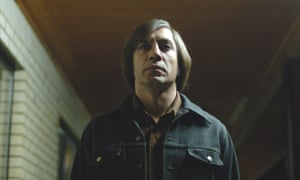 Actor Javier Bardem as Anton Chigurh in the 2007 film No Country for Old Men.