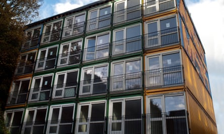 Shipping containers that have been converted to residential use for the homeless of Brighton.
