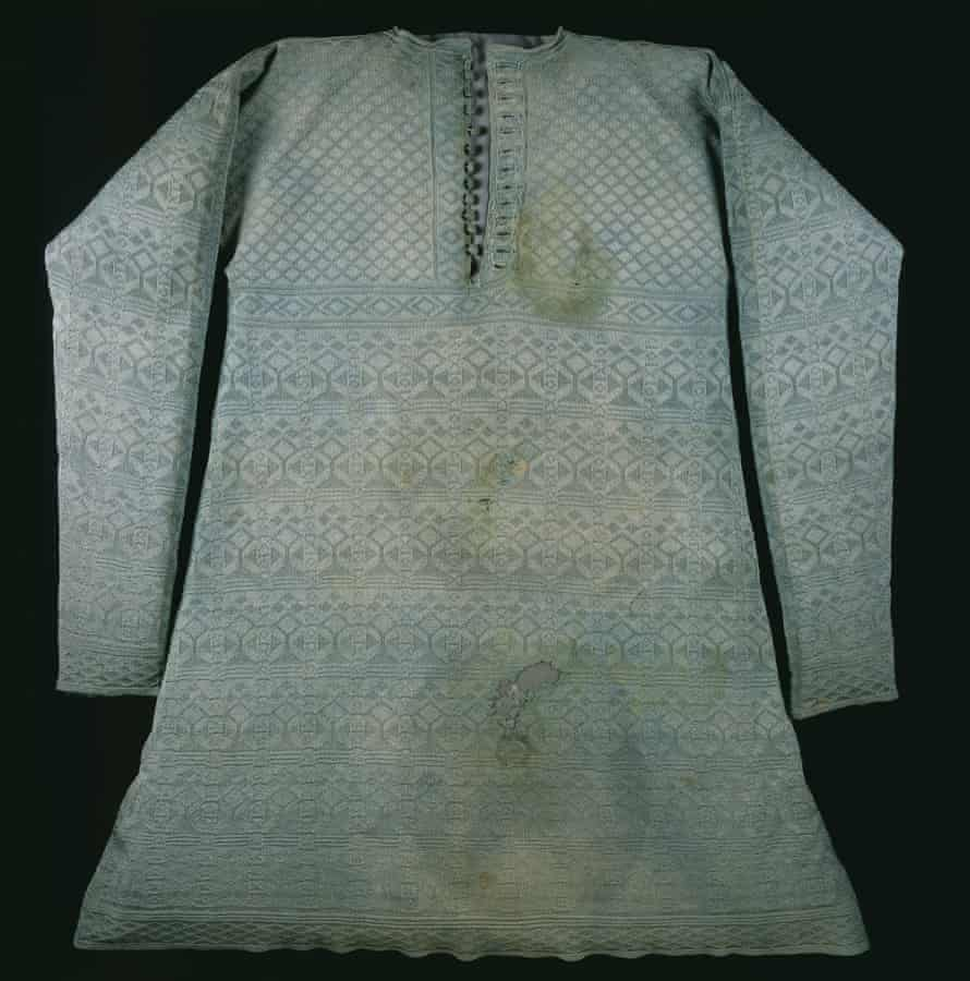 The knitted pale green silk vest worn by Charles I at his execution.