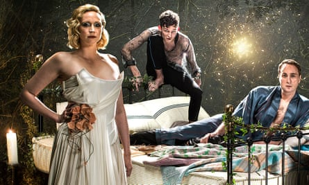Gwendoline Christie as Titania, David Moorst as Puck and Oliver Chris as Oberon in the Bridge Theatre's 2019 production of A Midsummer Night's Dream.