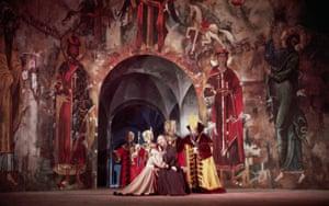A scene from a 1949 production of the opera Boris Godunov, London