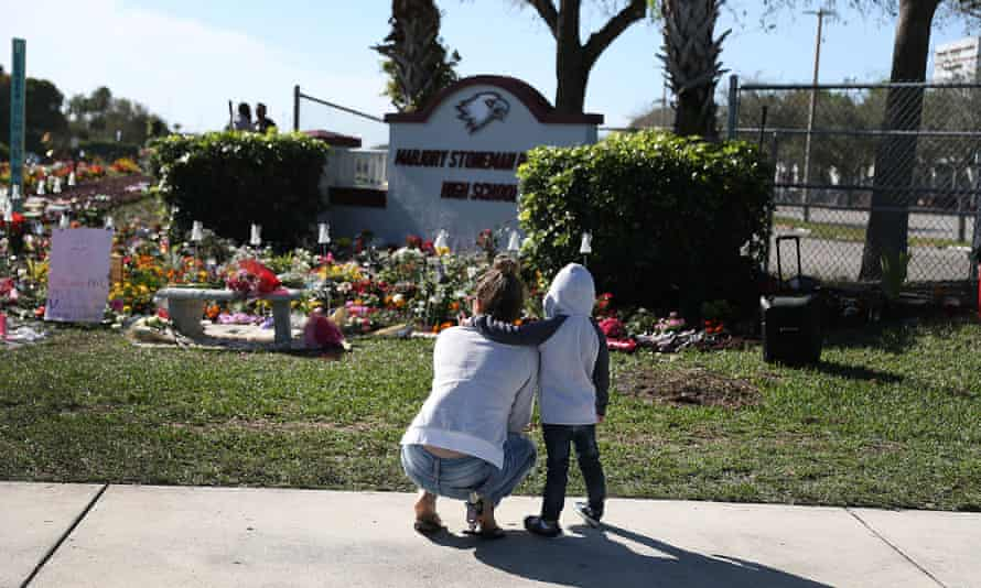 A memorial at Marjory Stoneman Douglas high school in honor of those killed during a mass shooting on 14 February 2018 in Parkland, Florida.