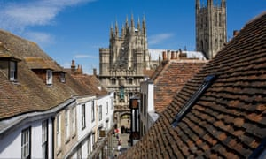Rooftop view towards Canterbury Cathedral, Kent.