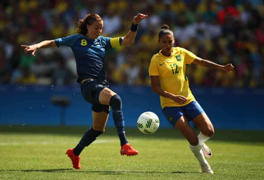 (left) Lotta Schelin of Sweden during the women's semi-final at the 2016 Olympic Games.