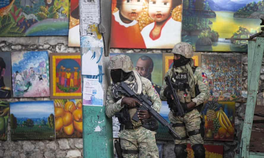 Soldiers patrol in Pétion Ville, the neighbourhood where Jovenel Moïse lived in Port-au-Prince.