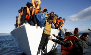 Migrants arriving on the Greek island of Lesbos