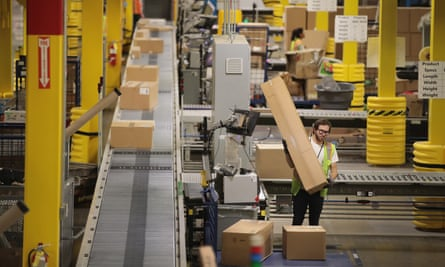 Workers at an Amazon site in Romeoville, Illinois.